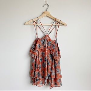 Free People Floral Halter Tank Top Blouse Small S